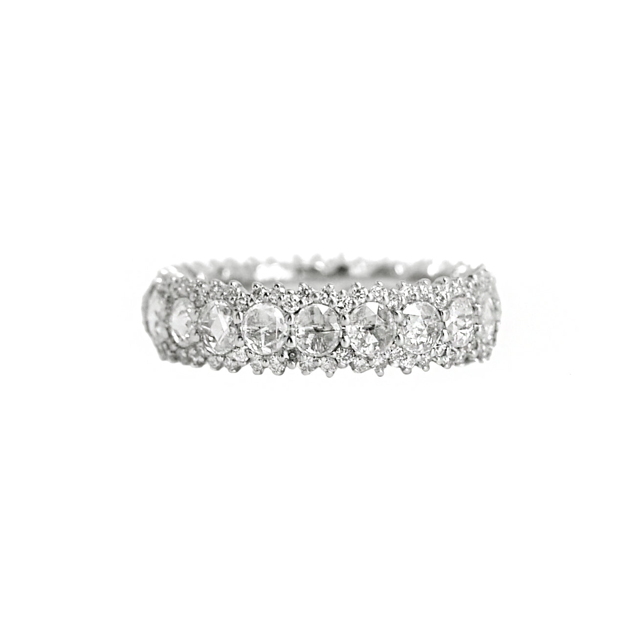 white gold rose cut diamond ring