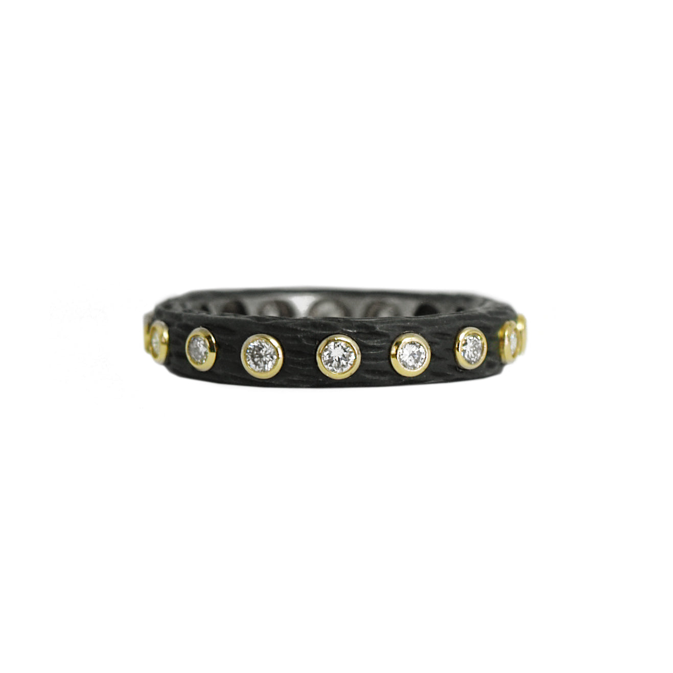 blackened steel 'pebble' diamond eternity ring