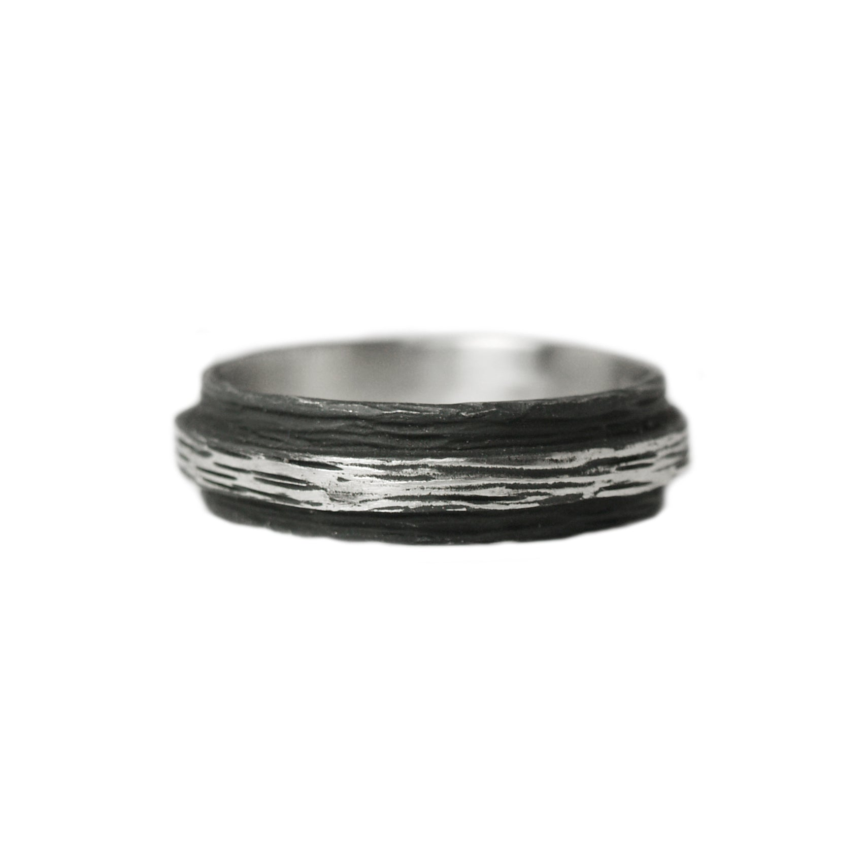 blackened steel 'pebble' ring