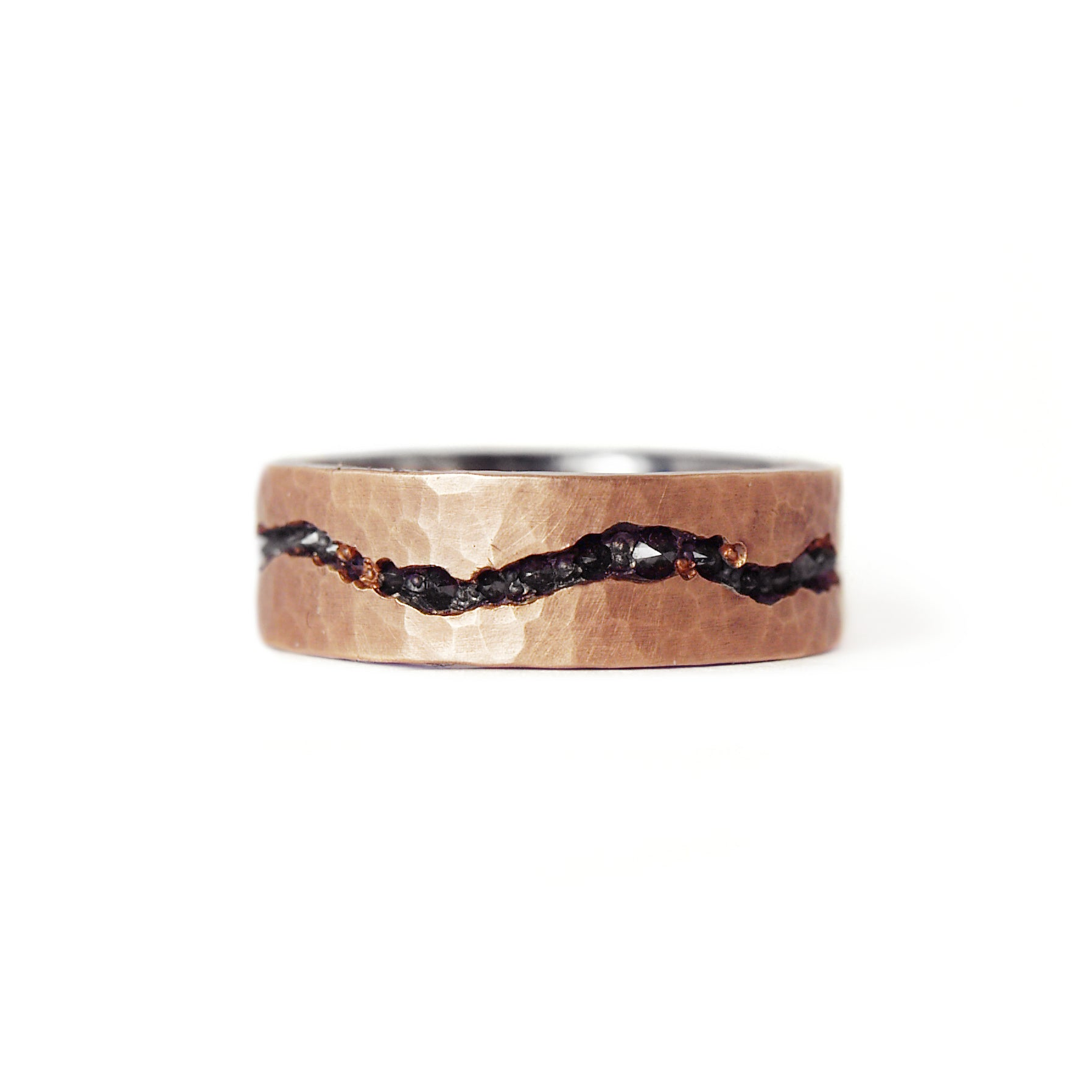 oxidized silver and rose gold cracked black diamond ring