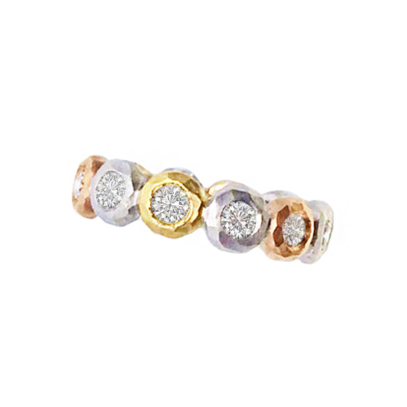 rose gold, white gold, yellow gold and diamond harlequin eternity ring
