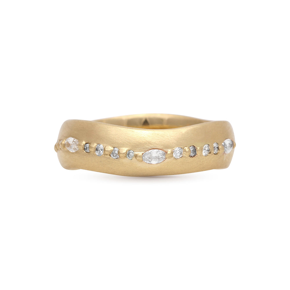 "yellow gold round and marquis diamond ""wave"" ring"