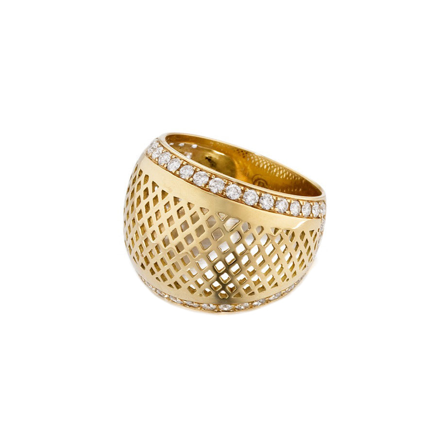 yellow gold wide crownwork diamond ring