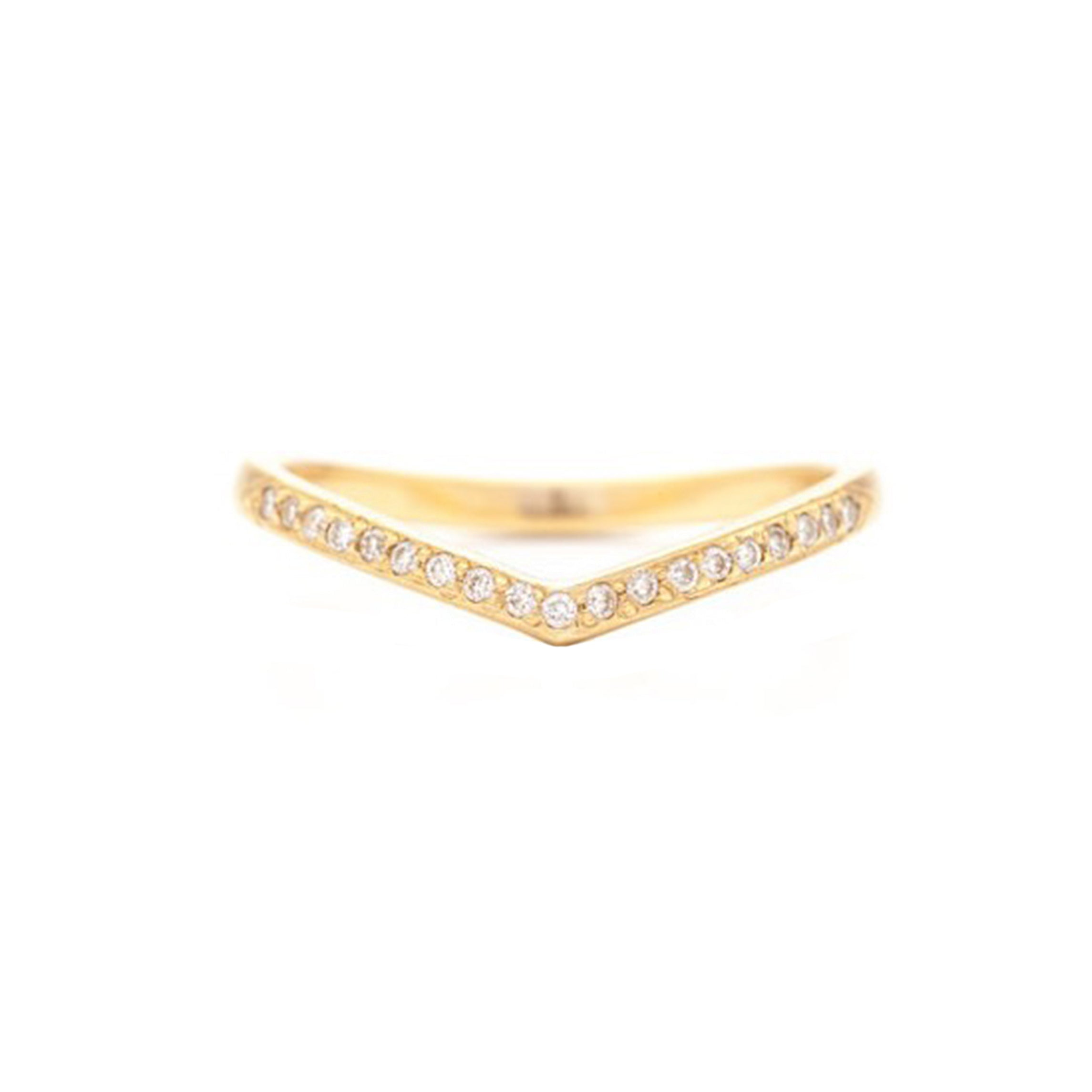 "yellow gold diamond ""v"" ring"