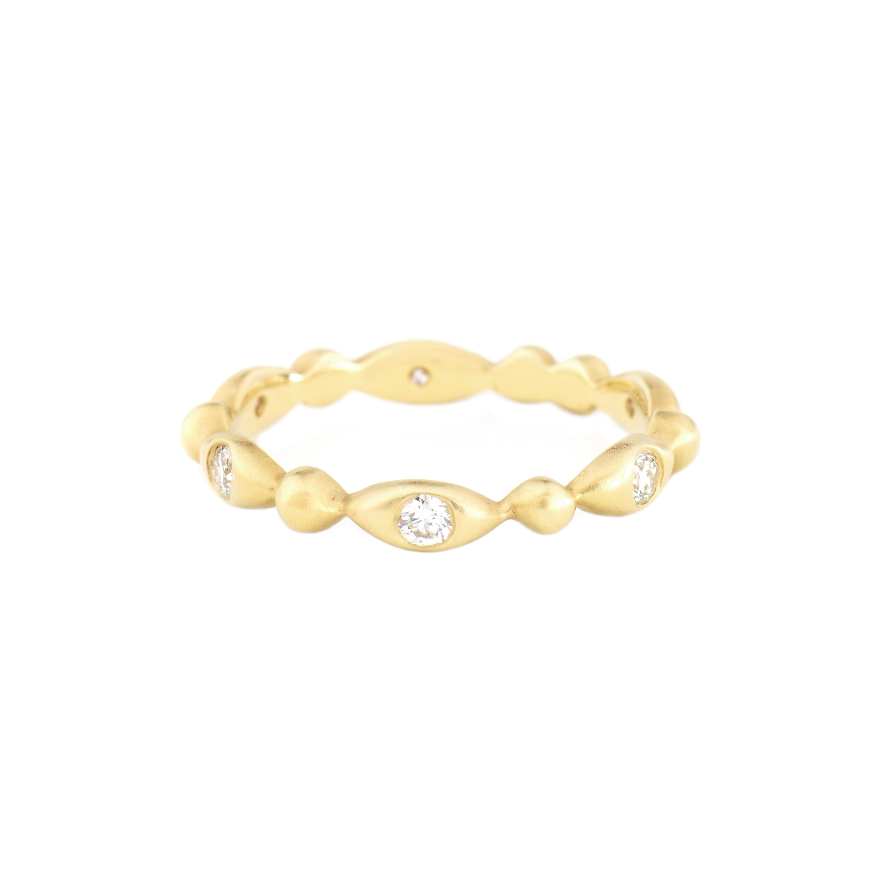 yellow gold oval seed diamond eternity ring