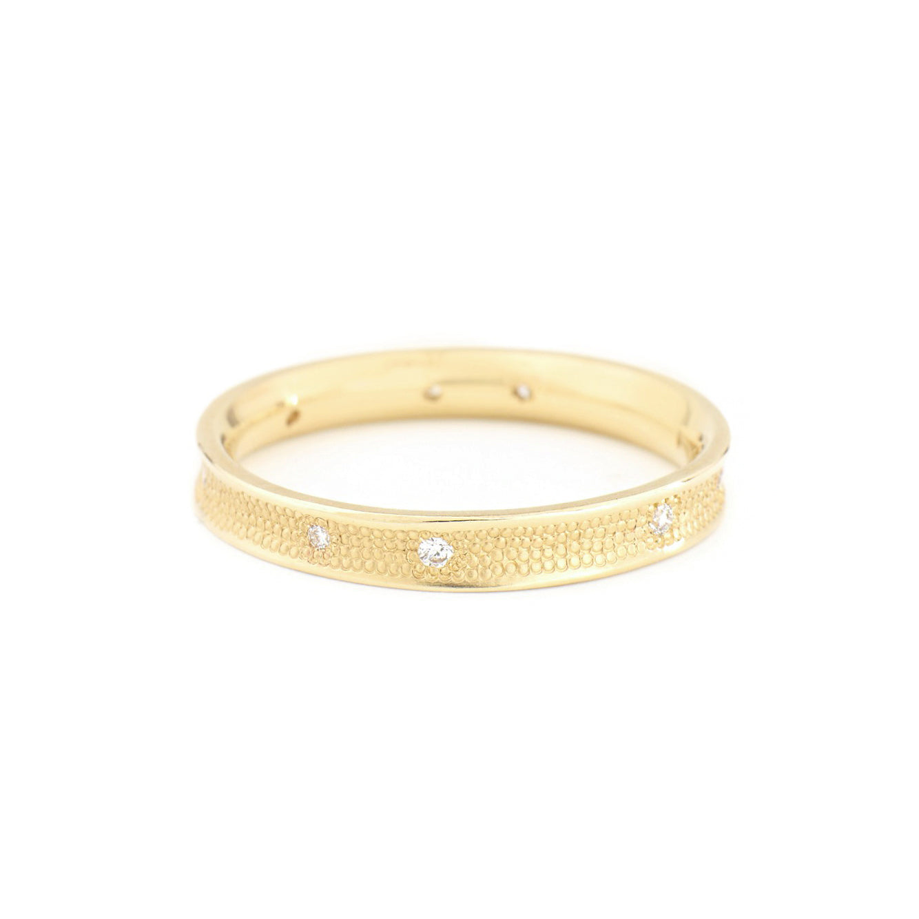 "yellow gold concave ""stardust"" ring"