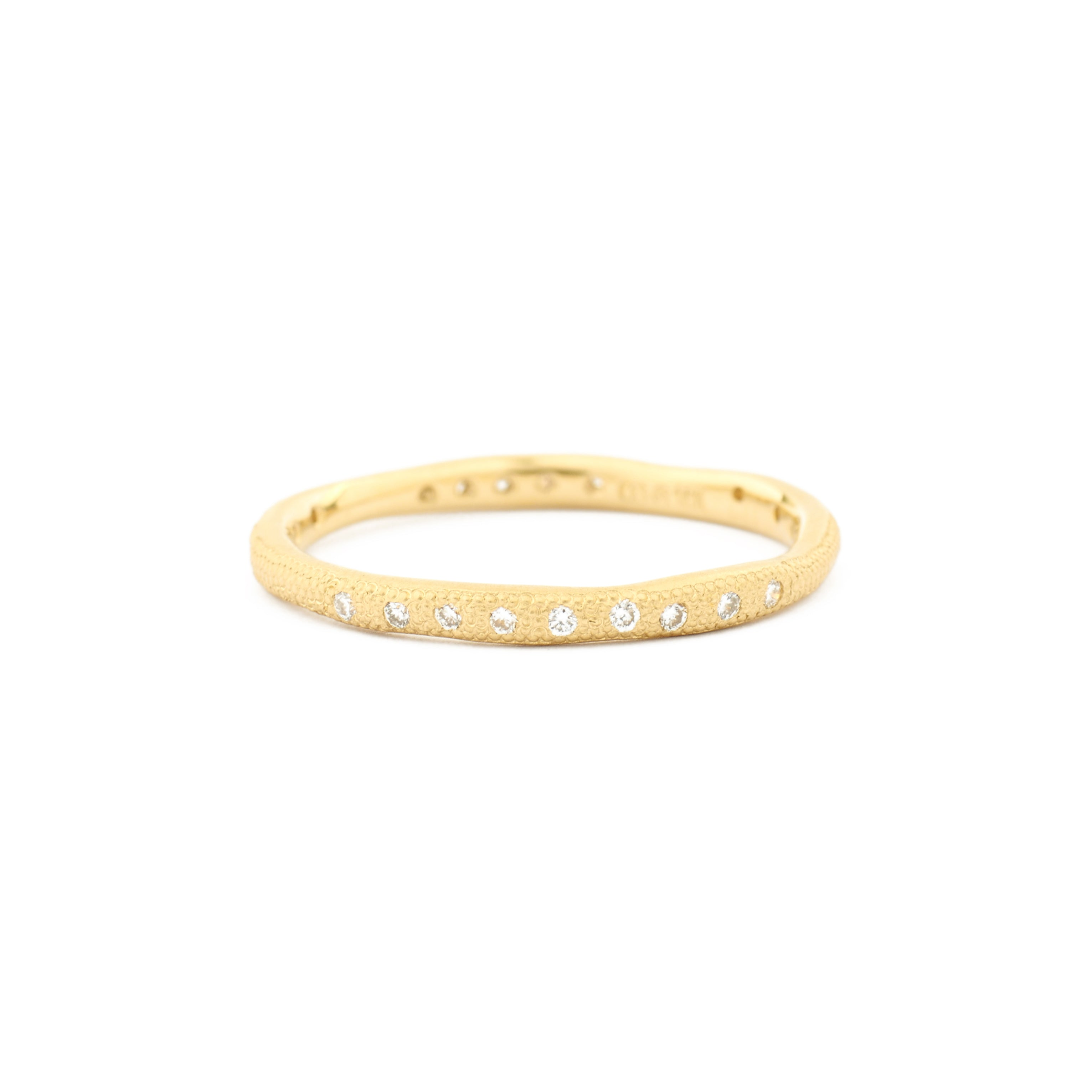 yellow gold stardust scattered diamond ring