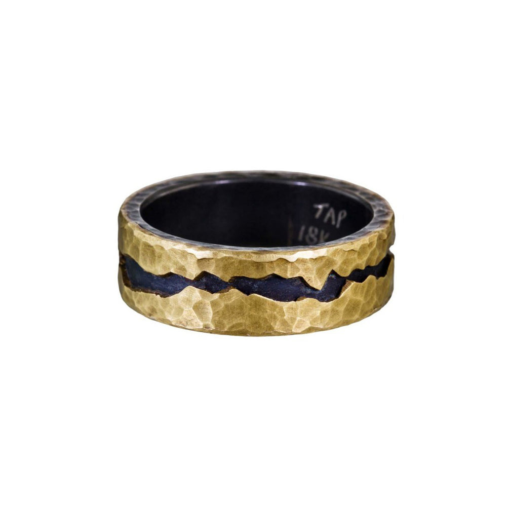 "oxidized silver and yellow gold ""fissure"" ring"