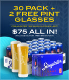 Storyteller Lager 30 pack + 2 FREE pint glasses - $75 (incl. tax, deposit & delivery)