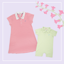 Load image into Gallery viewer, Maude's Polo Dress - Hamptons Hot Pink Stripe w/ Lavender Stork