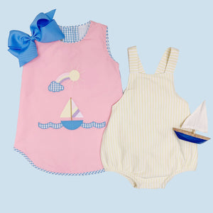 Annie Apron Dress w/ Sailboat Applique