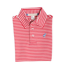 Load image into Gallery viewer, Prim & Proper Polo - Raleigh Raspberry Stripe w/ Barbados Blue