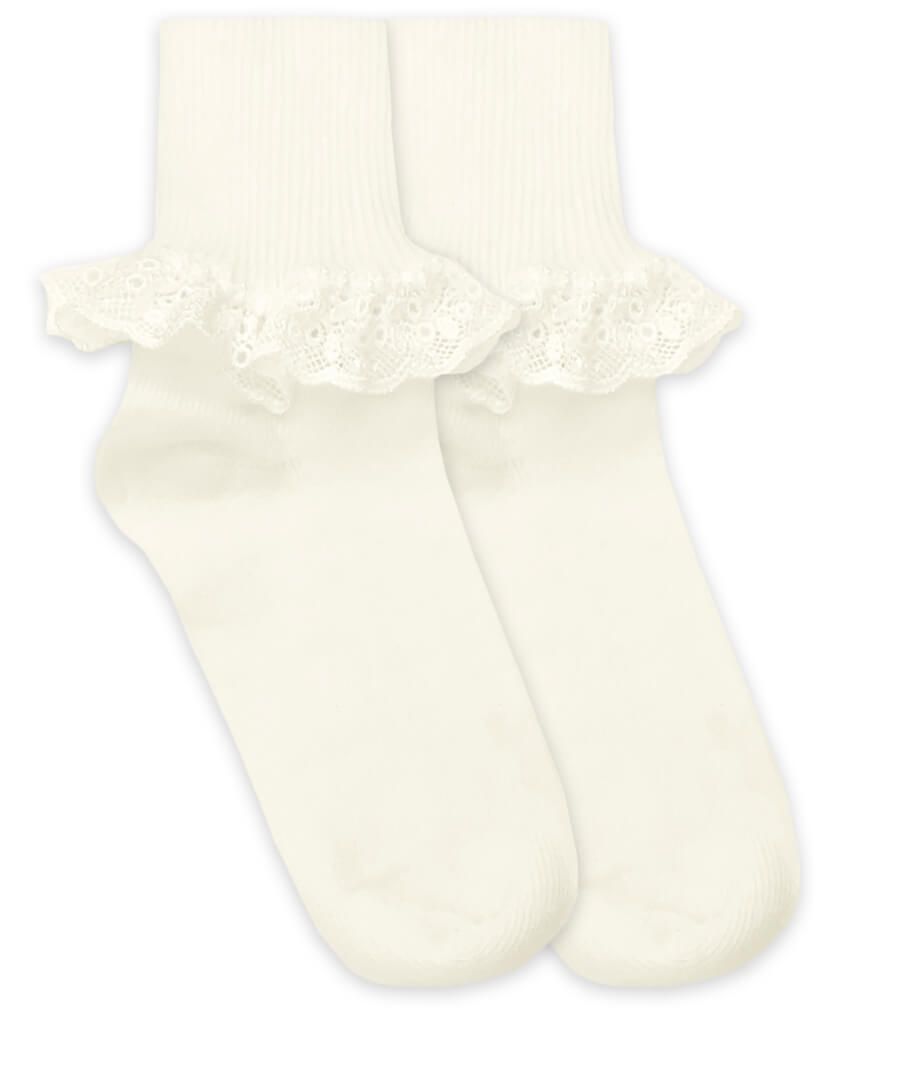 Jefferies Turn Cuff Socks with Chantilly Lace - Ivory