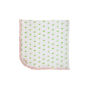 Baby Buggy Blanket - Old Town Tulip w/ Palm Beach Pink
