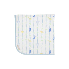 Load image into Gallery viewer, Baby Buggy Blanket - Rockabye Ribbons w/ Buckhead Blue