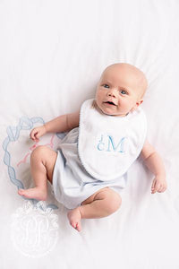 Bellyful Bib - White w/ Buckhead Blue