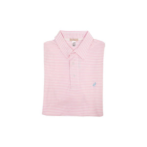 Croquet Party Polo- Palm Beach Pink Stripe/Buckhead Blue