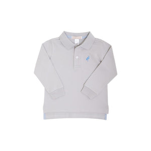 Prim & Proper Polo - Grantley Gray w/ Barbados Blue - Long Sleeve