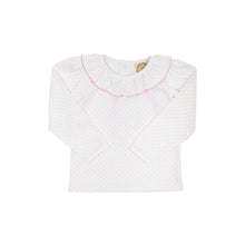 Load image into Gallery viewer, Ramona Ruffle Collar Shirt - White w/ Hamptons Hot Pink Microdot - Long Sleeve - Pima