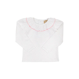 Ramona Ruffle Collar Shirt - White w/ Hamptons Hot Pink Microdot - Long Sleeve - Pima