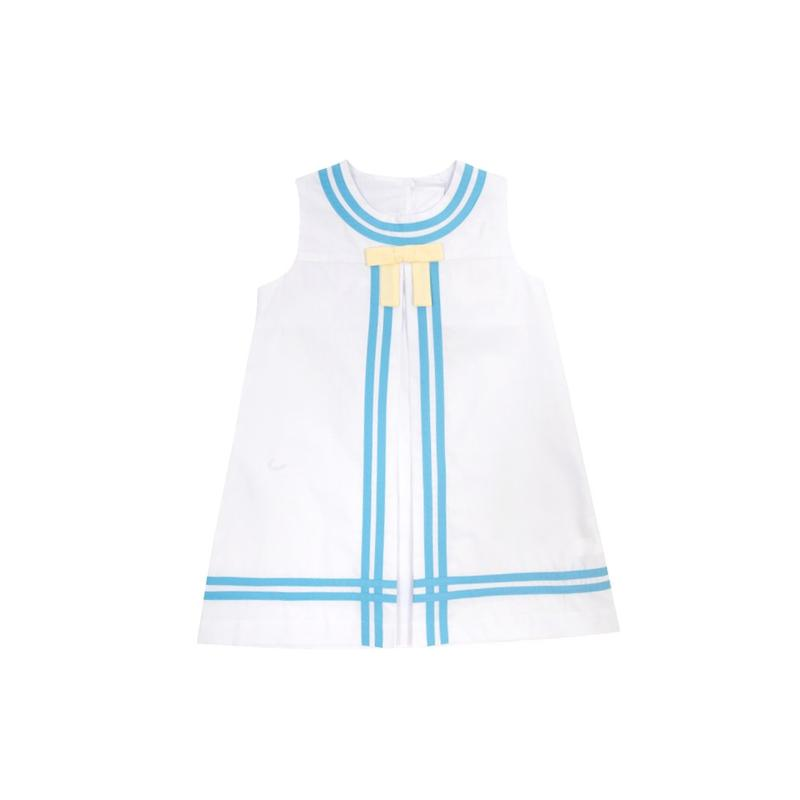 Madge Main Sail Dress - Worth Ave White w/ Brookline Blue & Bellport Yellow
