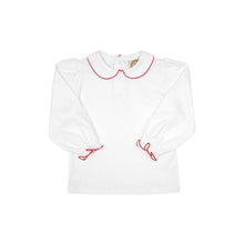 Load image into Gallery viewer, Maude's Peter Pan Collar Shirt - White w/ Red Trim - Long Sleeve - Pima