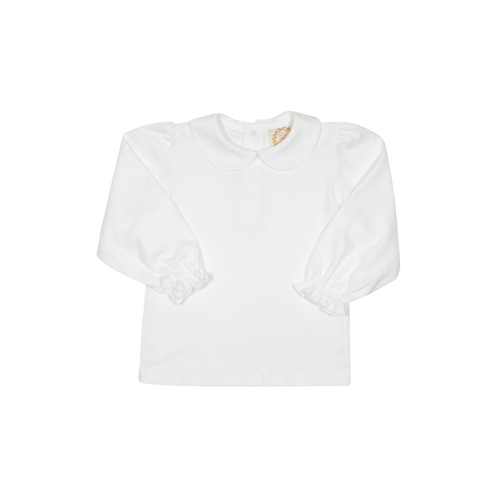 Maude's Peter Pan Collar Shirt - Worth Ave White - Long Sleeve - Pima