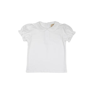 Maude's Peter Pan Collar Shirt - Short Sleeve Pima - Elastic Ruffle