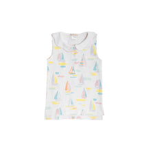 Load image into Gallery viewer, Paige's Playful Polo - Sandport Sailboats w/ Sandpearl Pink