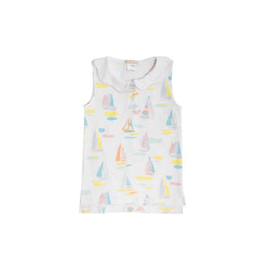 Paige's Playful Polo - Sandport Sailboats w/ Sandpearl Pink