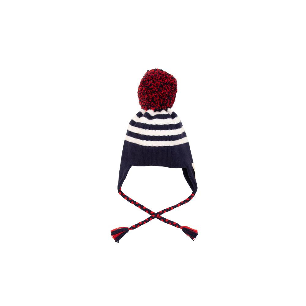 Pratt Pom Pom Hat-Worth Ave White and Nantucket Navy Stripes