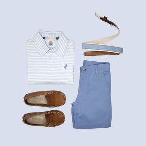 Prim & Proper Polo - Buckhead Blue Stripe - Short Sleeve - Pima