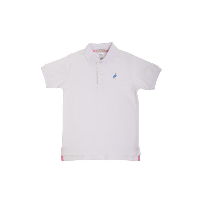Prim & Proper Polo - Worth Ave White w/ Barbados Blue - Short Sleeve