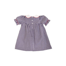 Load image into Gallery viewer, Banks Bow Dress - Nantucket Navy Gingham - Short Sleeve