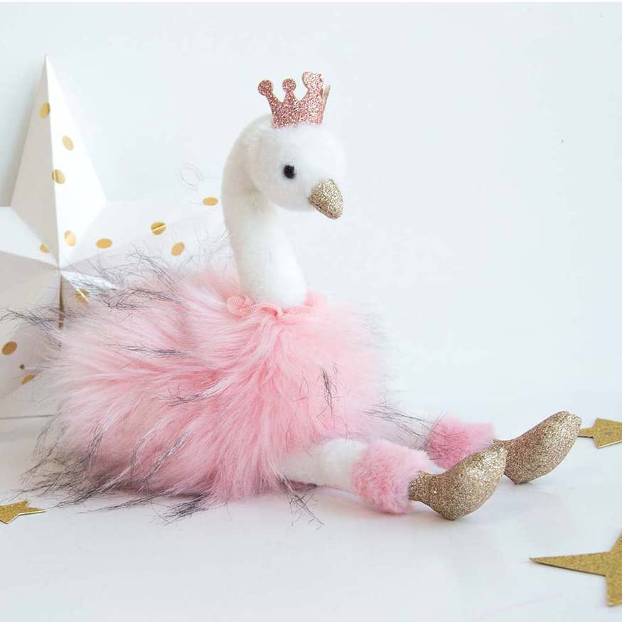 Pink Swan - Stuffed Animal - with Pink Tutu & Crown