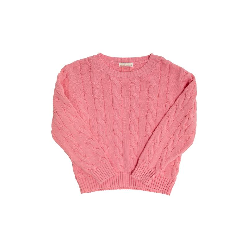 Crawford Crewneck Cable Sweater - Hamptons Hot Pink