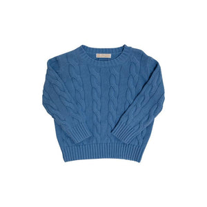 Crawford Crewneck Cable Sweater - Unisex - Park City Periwinkle