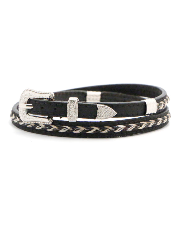 Braided Horse Hair and Black Leather Hat Band