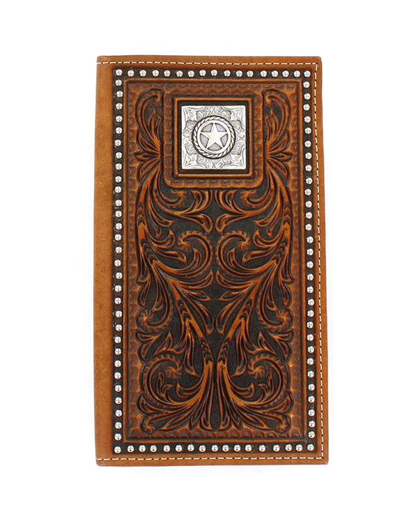 Nocona Tooled Lone Star Checkbook Wallet