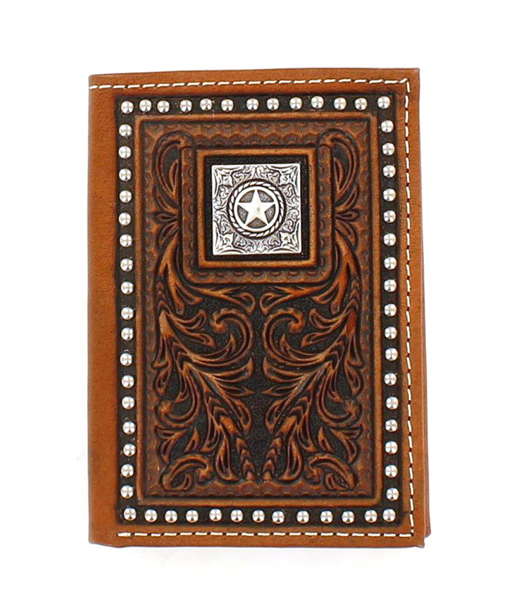 Nocona Tooled Lone Star Trifold Wallet
