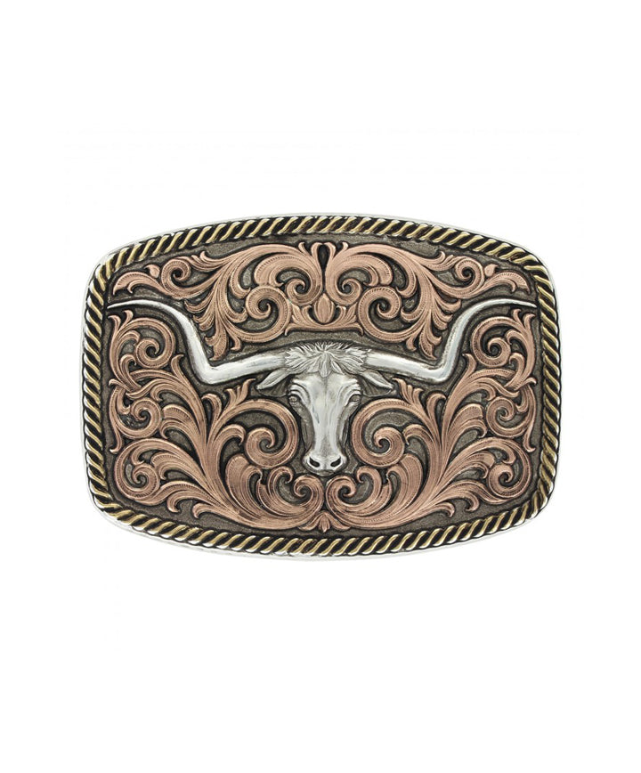 Montana Silversmiths Tri-Color Champion Texas Longhorn Buckle