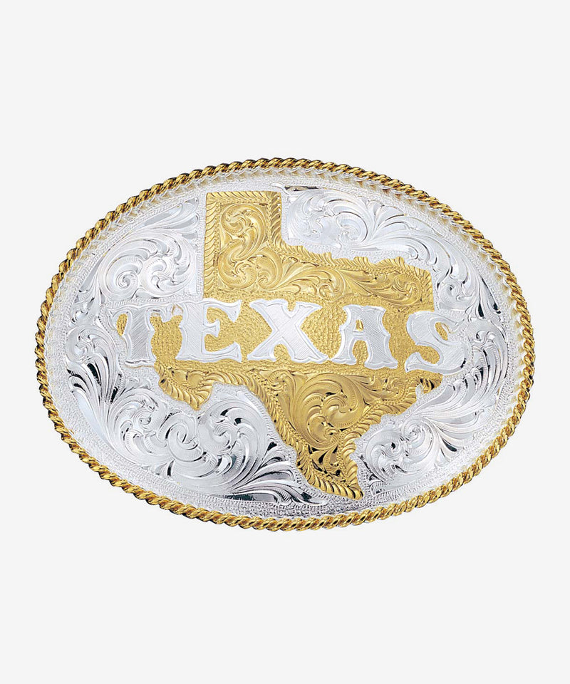 Montana Silversmiths Engraved Western Belt Buckle With Etched State of Texas