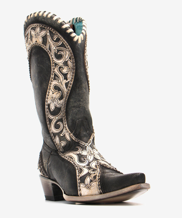 Corral Crystal and Floral Overlay Boot