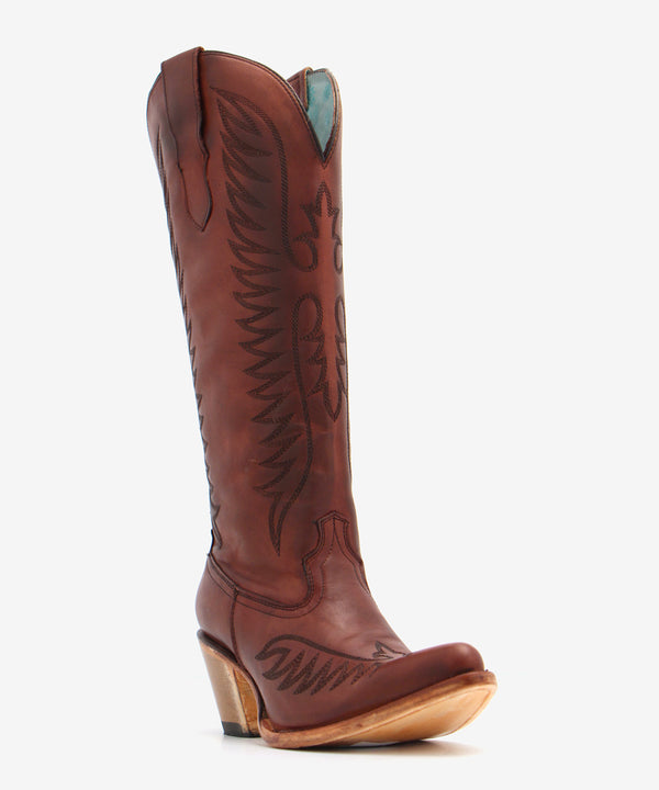 Corral Cognac Embroidered Tall Top Boot
