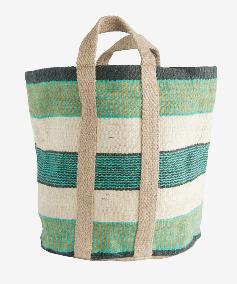 Striped Jute Bag with Handles