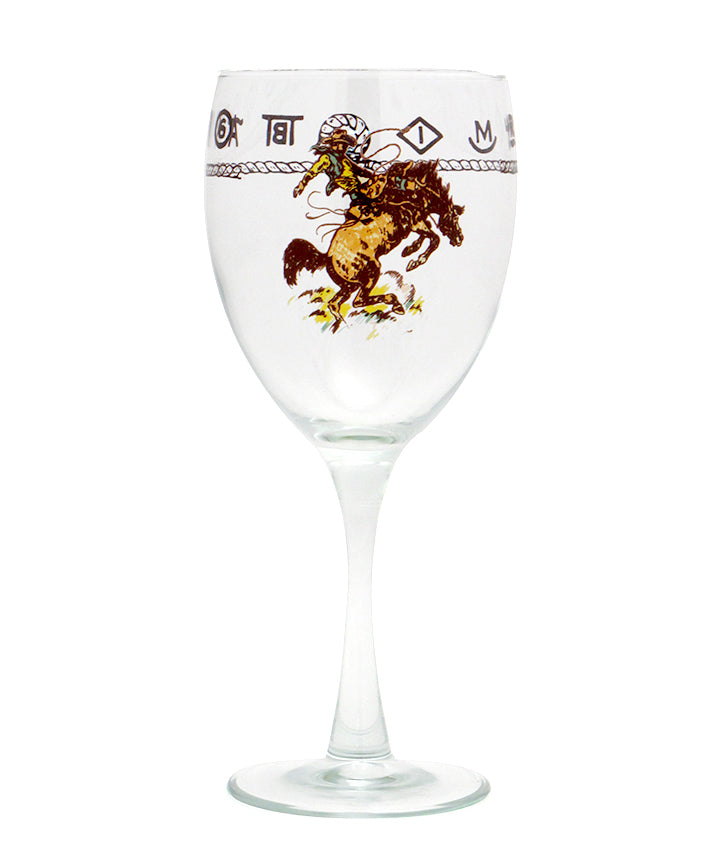 West Creations Rider and Bronco Wine Glass