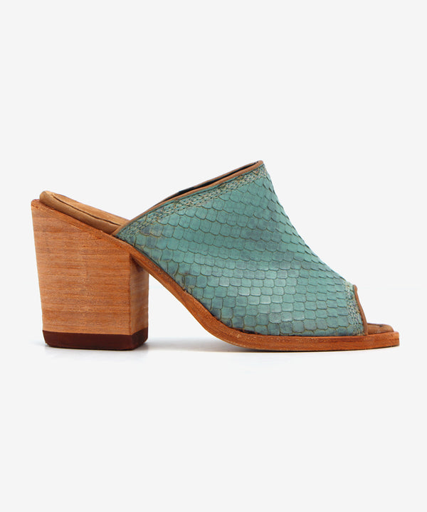 Liberty Black Raquel Mule in Turquoise Snake