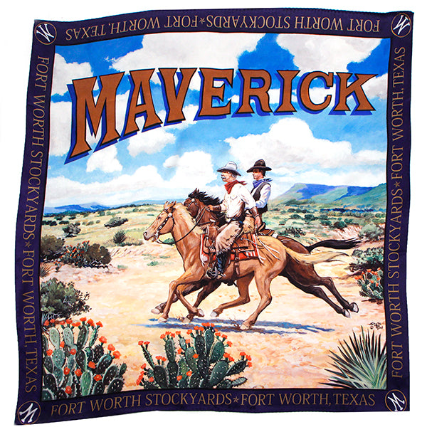Maverick Cowboy Mural Medium Silk Scarf