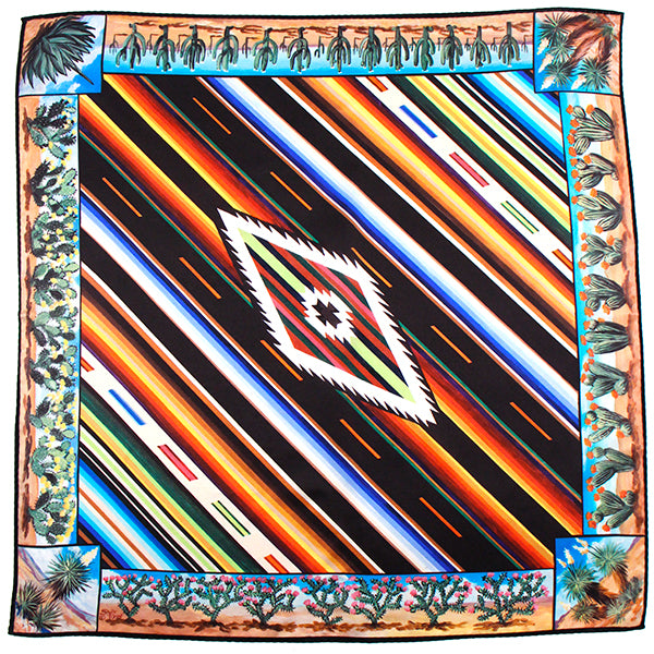Maverick Custom Serape and Cactus Medium Silk Scarf