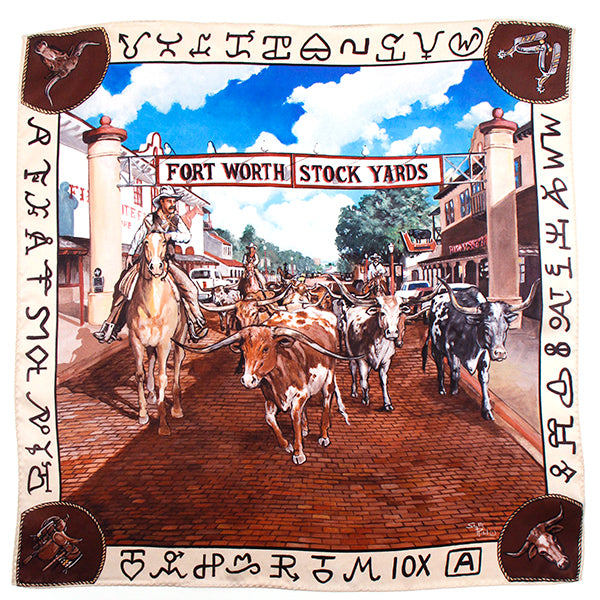 Maverick Stockyards Longhorns Medium Silk Scarf